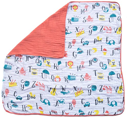 Organic Muslin Baby Toddler Blanket - 100% Hypoallergenic Cotton Bed Blankets - Alphabet by Clover & Sage from Clover & Sage