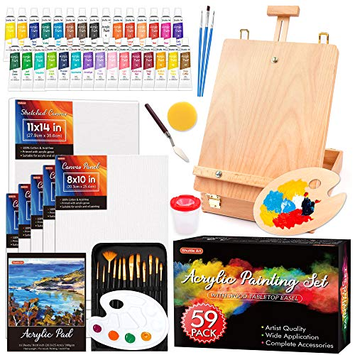Acrylic Painting Set, Shuttle Art 59 Pack Professional Painting Supplies with Wood Tabletop Easel, 30 Colors Acrylic…