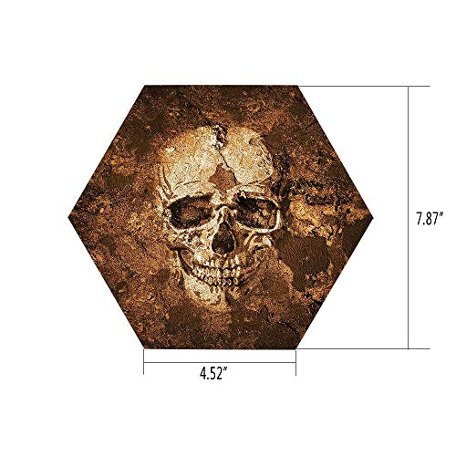 PTANGKK Hexagon Wall Sticker,Mural Decal,Skull,Graphic of an Human Skull on The Soil Dead Mans Look Horror Scary Theme Print,Chocolate Beige,for Home Decor 4.52x7.87 10 -