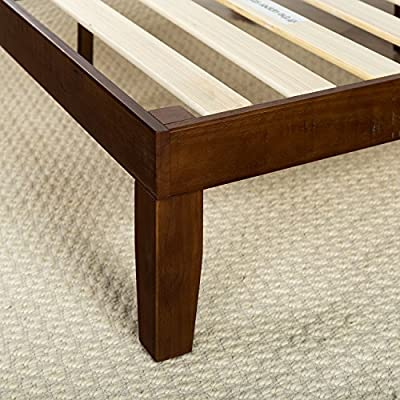 Zinus 12 Inch Wood Platform Bed / No Boxspring Needed / Wood Slat support / Cherry Finish, Twin