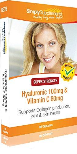 Ácido Hialurónico 100 mg con Vitamina C 80 mg - 60 cápsulas - Mantiene la elasticidad y la salud de la piel - SimplySupplements: Amazon.es: Salud y cuidado ...