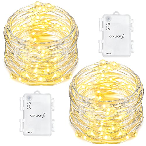 Oak Leaf 60 LED String Lights, 2 Pack Fairy Lights Starry Light Battery Operated Waterproof Decorative Lighting, for Outdoor Indoor Patio,Home,Garden,Party Decor,Warm White, 9.8ft 60 Off Christmas Cards