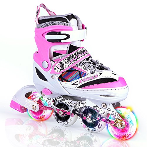 Kuxuan Kids Doodle Design Adjustable Inline Skates with Front and Rear Led Light up Wheels, Comic Style Rollerblades for Boys and Girls - Pink S by Kuxuan (Image #5)
