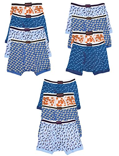 4 Assorted Prints (Andrew Scott Boys 12 Pack Boxer Briefs for Toddlers and Boys in Assorted Prints (X-SMALL / 4-5, Assorted Prints))