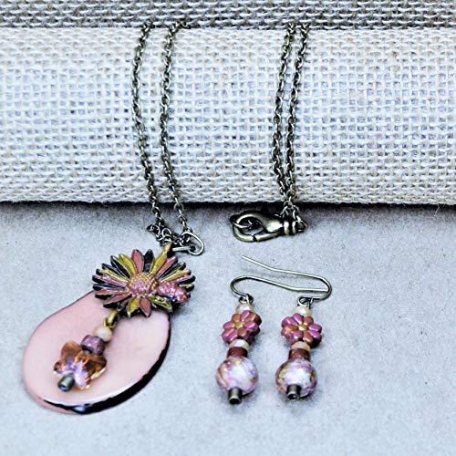 Enameled Sunflower Butterfly Pendant w/FREE Polymer Clay Flower Earrings