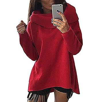 Corte asimétrico con cuello de cisne para mujer cuello manga larga Metralleta Oversized Sudadera con capucha sudadera, rojo, medium: Amazon.es: Deportes y ...