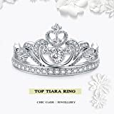 Princess Crown Ring White Gold Plated 925 Sterling Silver - Top Tiara Ring Gift