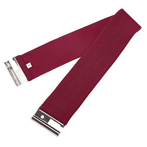 Grace Karin Women Fashion Wide Metal Hook Stretchy Elastic Waist Belt Wine S CL409-6 - Belt Wine