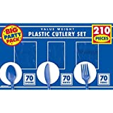 """Amscan Reusable Big Party Pack Window Box Cutlery Set, Royal Blue, Plastic, 6"""" x 11"""", Pack of 210"""