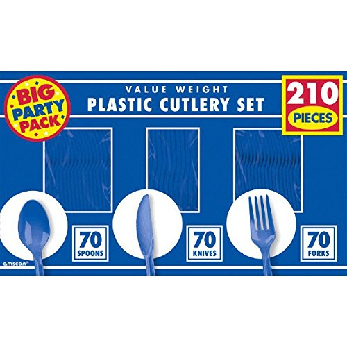 [Reusable Big Party Pack Window Box Cutlery Set, Royal Blue, Plastic , 6