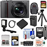 Panasonic Lumix DC-ZS200 4K Wi-Fi Digital Camera (Silver) with 64GB Card + Case + Battery & Charger + Tripod + Flash + Video Light Kit