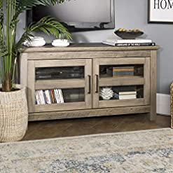 Farmhouse Living Room Furniture Walker Edison Furniture TV Stand, 44″, Grey Wash farmhouse tv stands