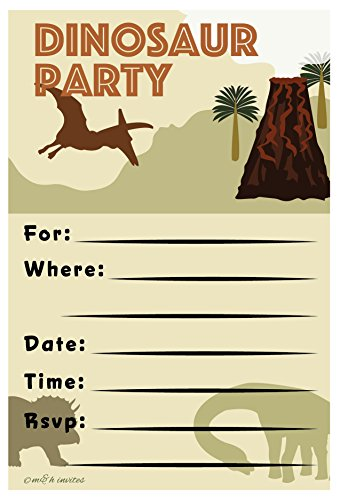 Dinosaur Invitations Birthday Party - Fill In Style (20 Count) With Envelopes by m&h invites (Dinosaur Birthday Party Invitation)