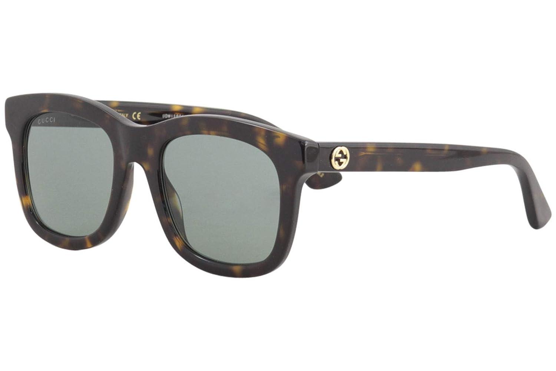 64ee40f724 Amazon.com  Gucci GG0326S Sunglasses 002 Havana   Green Lens 52 mm  Clothing