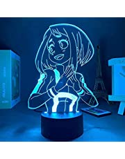 JYDNBGLS Anime led Nachtlampje Anime 16 Kleuren Remote Beste Verjaardag Kerst Anime Geschenken Anime Mijn Hero Academia Ochako Uraraka Slaapkamer lamp Verlichting