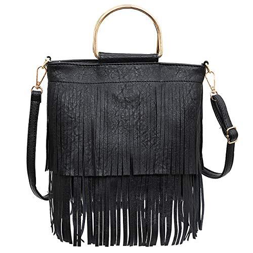 Ayliss Women Fringe Tassel Crossbody Bag Leather Shoulder Bag Hobo Handbag (Black)