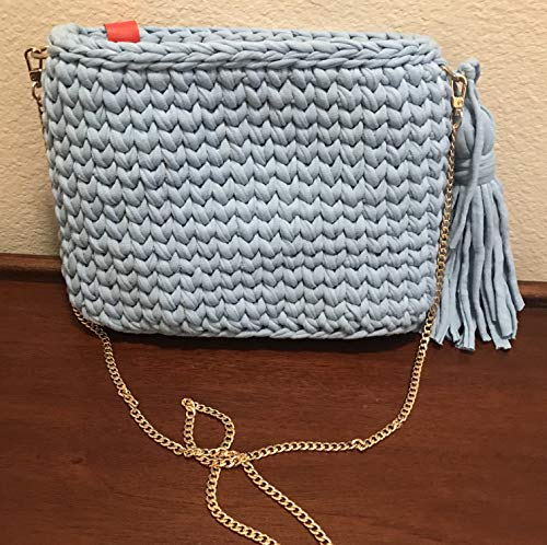 Light blue crochet shoulder bag, cross body t-shirt yarn crossbody bag purse - handmade