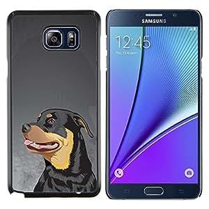 Caucho caso de Shell duro de la cubierta de accesorios de protecci¨®n BY RAYDREAMMM - Samsung Galaxy Note 5 5th N9200 - Rottweiler Pintura Arte del perro de cara grande
