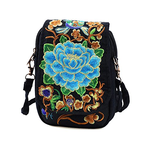 Blue Mini Peony Jiyaru Women Bag Pouch Canvas Cellphone Shoulder Embroidered Crossbody Purse 1SvFq