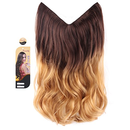"Creamily Brown to Golden Blond 14"" Ombre Dip Dye Secret Miracle Wire Hair Extensions Synthetic Curly Wave Hairpieces 14"""