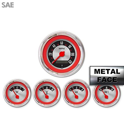 GAR1135ZEXQABCE American Retro Rodder Red IV 5-Piece Gauge Set Aurora Instruments