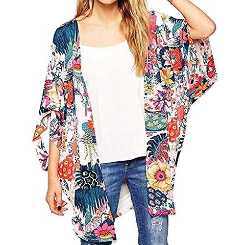 Witspace Women's Sheer Chiffon Blouse Loose Tops Kimono Floral Print Cardigan