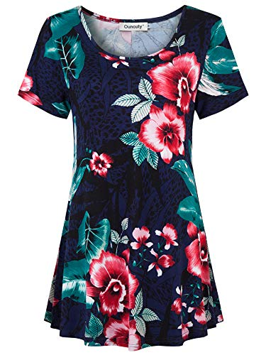 (Ouncuty 2X Tunics for Women,Lady 2018 New 80s Nice Popular Excellent Cowl Neck Shirred Detailed Handkerchief Hem Polished Romantic Colorful Bohemian Semi Basic Tee Blouse Dark Blue Red XX-Large Plus)