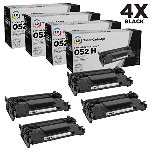 LD Compatible Toner Cartridge Replacement for Canon 052H 2200C001 High Yield (Black, 4-Pack)