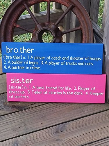 Brother Sister Signs Set of Wooden Signs Nursery Wall Decor Baby Gift Kids Room Wall Art Gift for Brother Sister Wall Plaque