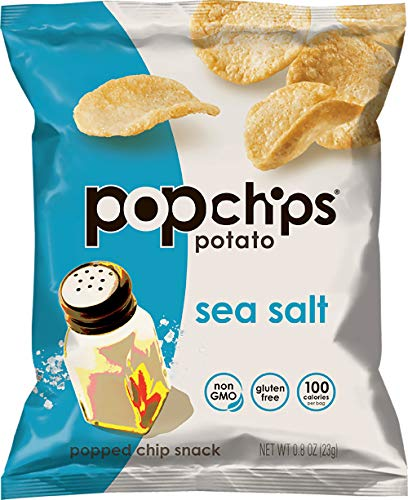 - Popchips Potato Chips, Sea Salt Flavor, 0.8oz (Pack of 24)