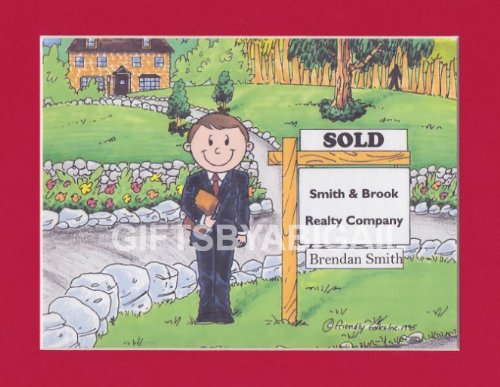 Realty Gift Personalized Custom Cartoon Print 8x10, 9x12 Magnet or Keychain