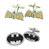 Outlander Gear DC Comics 2 Pairs Batman Text & Batman Black Silver Superhero 2018 Movie Mens Boys Cufflinks