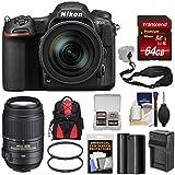 Nikon D500 Wi-Fi 4K Digital SLR Camera & 16-80mm VR Lens with 55-300mm VR Lens + 64GB Card + Backpack + Battery & Charger + Filters + Strap + Kit