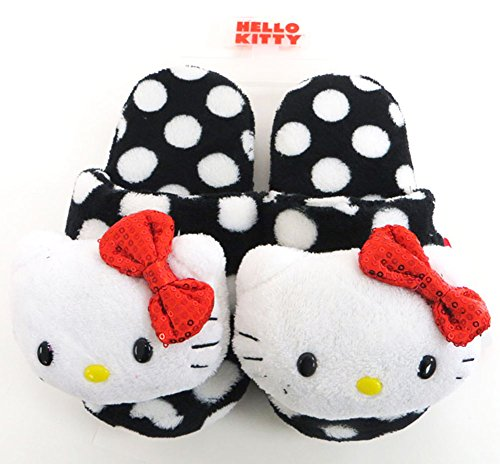 Hello Kitty Licensed Hello Kitty Black Polka Dot Slipper (S(5-6))