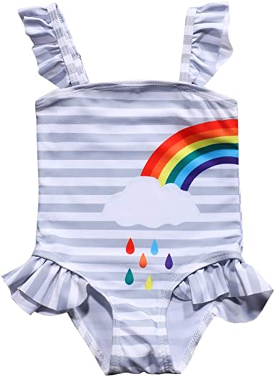 waliwali Newborn Baby Girl Swimsuit Watermelon Print Bikini Ruffles Sleeve Backless Swimwear One-Piece Bathing Suit
