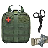 Tactical MOLLE IFAK Pouch+Stainless Steel Bandage Scissors Heavy Duty Set:Rip-Away EMT First Aid Kit Emergency Survival Gear Bag Medical Trauma Shears