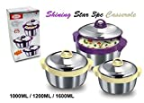 Asian STAR Shining Star 3pc Stainless Steel (Double wall insulated) Insulated Food Storage Hot Pot Casserole Set FREE UK POSTAGE by India Bazaar