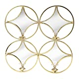Kate and Laurel Leelee Metal Mirrored Tea Light Candle Holder Wall Sconce, Gold