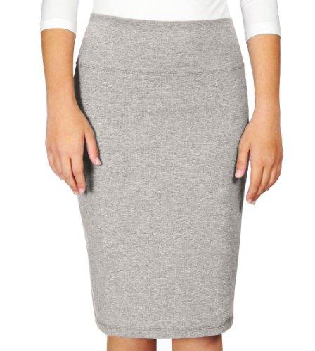 (Kosher Casual Kids Big Girls' Modest Knee Length Stretch Pencil Skirt In Lightweight Cotton Lycra Medium Heather Grey)
