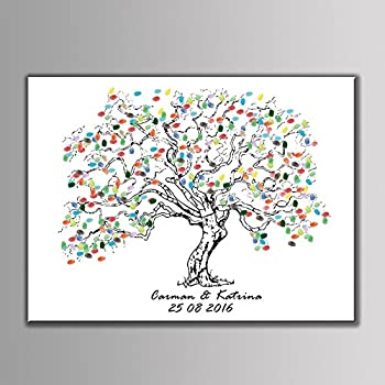 Amazon.com: 16x20 TREE 100 Wedding Fingerprint Guest Book Tree ...