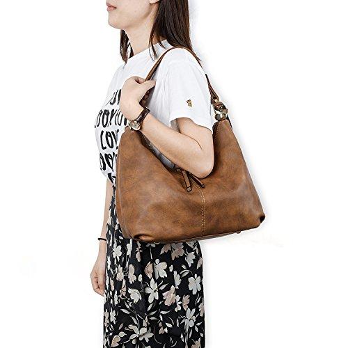 PU Double Brown UTO Shoulder Leather Women Purse Hobo Bag Handbag Style Zipper RRqWCrE