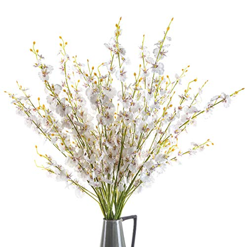 """CountryGrass 12 Pieces Artificial Flower 39.4"""" Long of Orchids Fake Silk Plants Real Touch Silk Fake Orchids Flowers in Bulk for Wedding Home Office Party Hotel Restaurant or Yard Decoration (White)"""