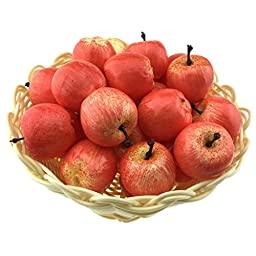 Gresorth 30pcs Artificial Lifelike Simulation Small Red Apples Decoration Fake Fruit Home House Display - 3.5 cm