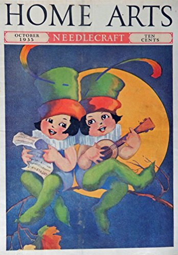 two girls singing... by the light of the moon, they look like leprechauns, 30's Color Illustration, Cover Print art...painting (artist unknowen) Very Rare Authentic oringial vintage 1935 Home Arts Magazine Cover Art