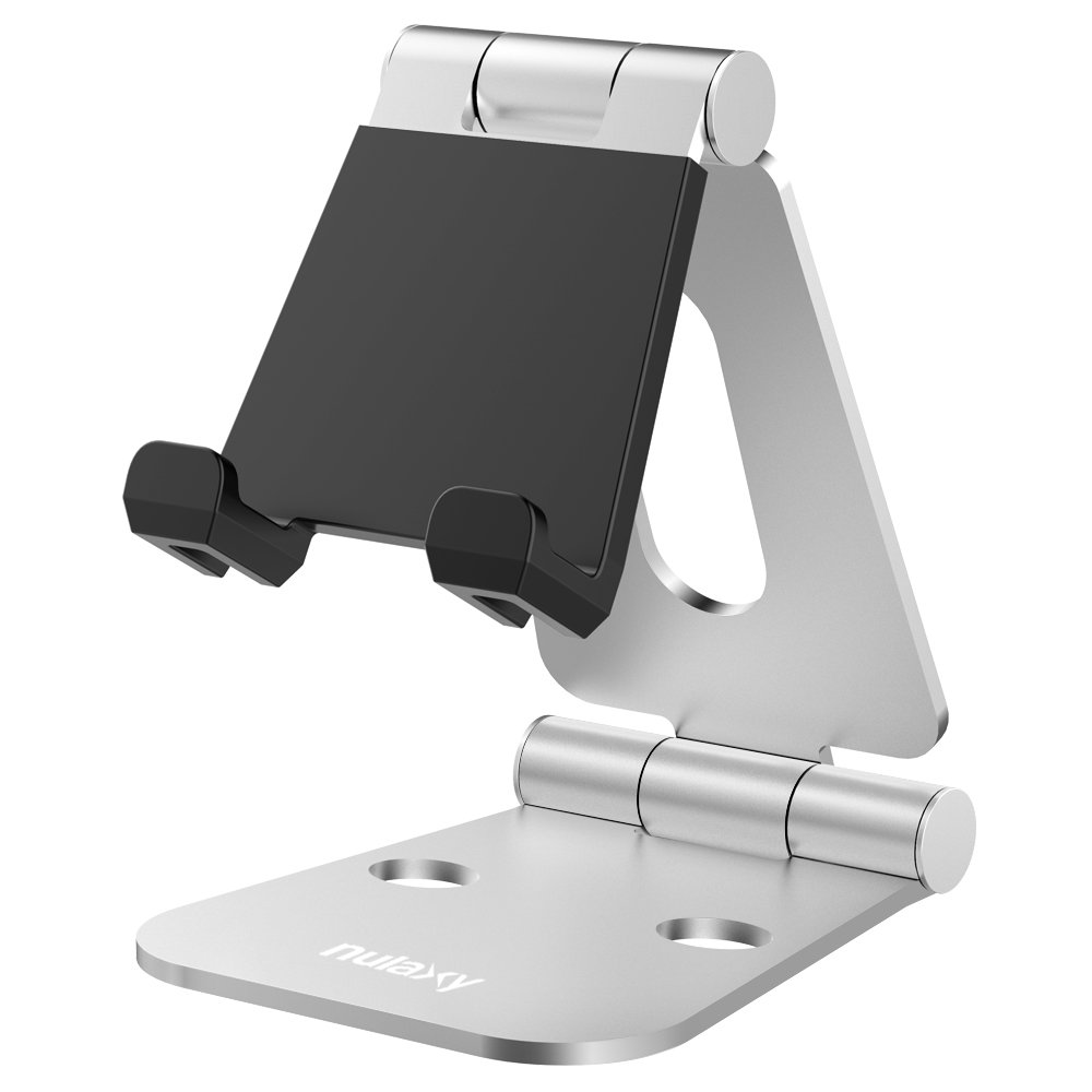 Nulaxy Dual Foldable Phone Stand, Multi-Angle Cell Phone Tablet Video Game Stand for Nintendo Switch iPhone X 8 7 6 Plus 5 5c, Accessories, iPad Universal for All Other Tablets Phones-Silver by Nulaxy (Image #1)