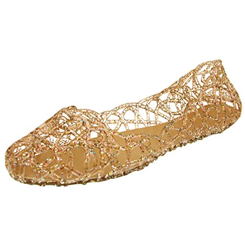 Donalworld Women Summer Breathable Jelly Nest Flat Sandals Rain Shoes Gold Asia Size 39
