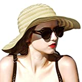 Women Summer Beach Hat Packable Striped Floppy Wide Brim Sun Protection Travel Hats