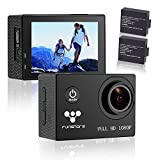 Action Camera Waterproof, Full HD 1080P Sports Camera 30M Underwater Camera, updated battery x2, 170 degree angle bundle with Accessories (Funshare, Black)