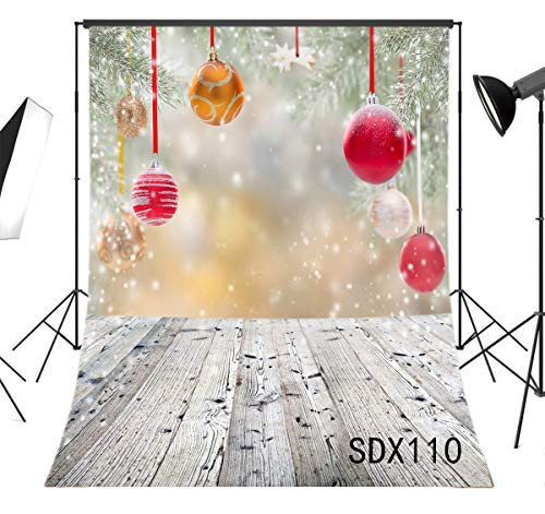Snowflake China Ornament (LB Christmas Balls Backdrops for Photography 5x7ft Poly Fabric Rustic Wood Floor Background Snowflake Photo Backdrops Customized Photo Background Studio Props)