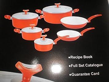 10 piezas de cocina cazuelas y sartenes de cerámica en paquete original: Amazon.es: Hogar